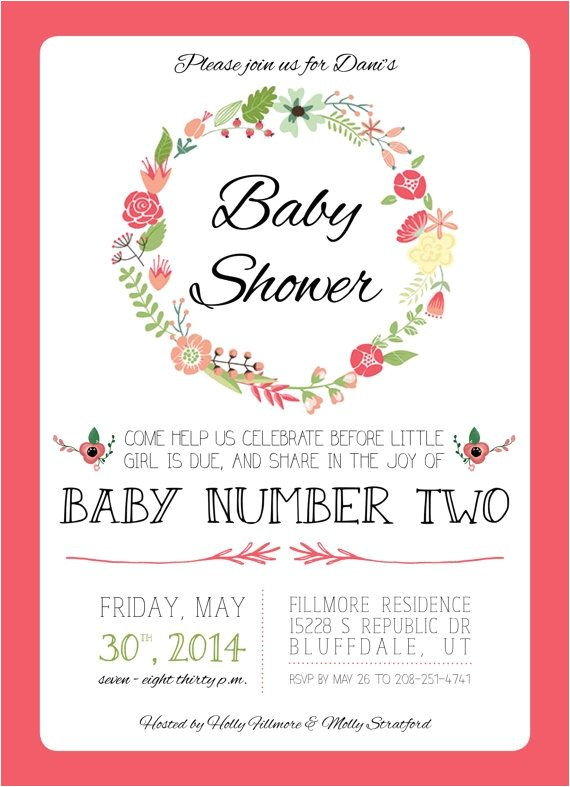 2nd Baby Shower Invitations Floral Baby Shower Invitation for Baby 2