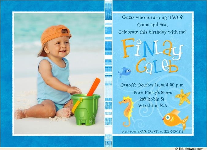 colorful fish photo birthday invitations