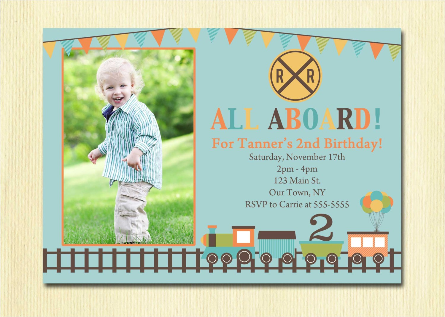 train birthday invitation boys 1st 2nd