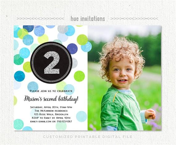 2nd birthday invitation boy blue green