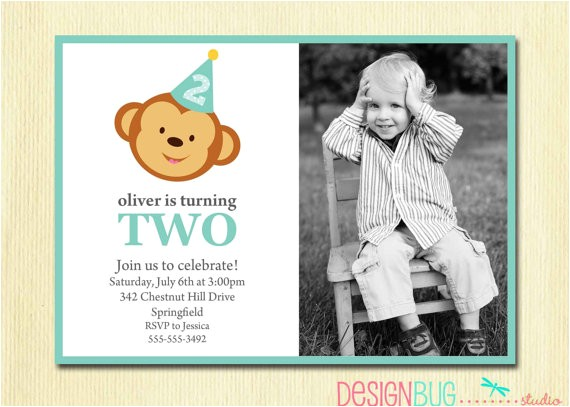 boys birthday monkey invitation baby boy