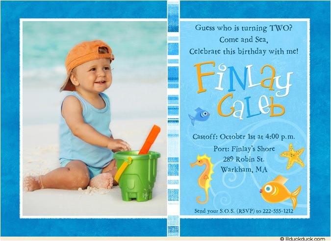 colorful fish photo birthday invitations