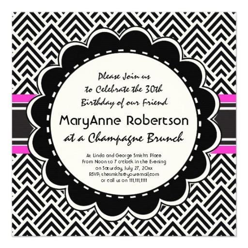 chic chevron zigzag 30th birthday party brunch invitation 161804604066143011