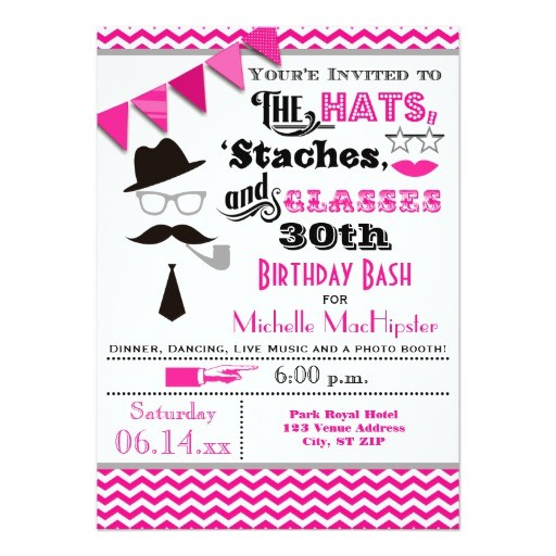 hats mustaches and glasses 30th birthday invite 161608742831665357