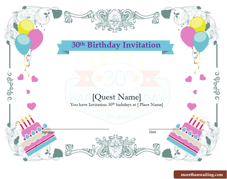 free 30th birthday invitations templates for him or her 2826