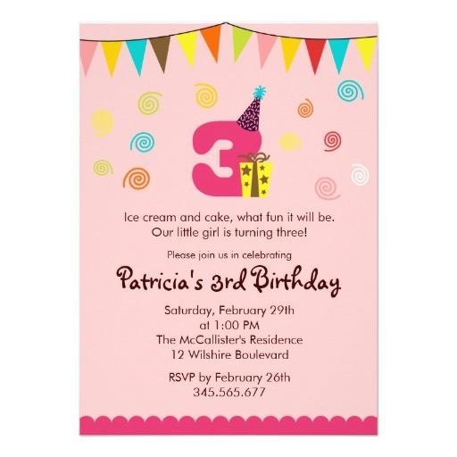 3rd birthday childrens party invitation