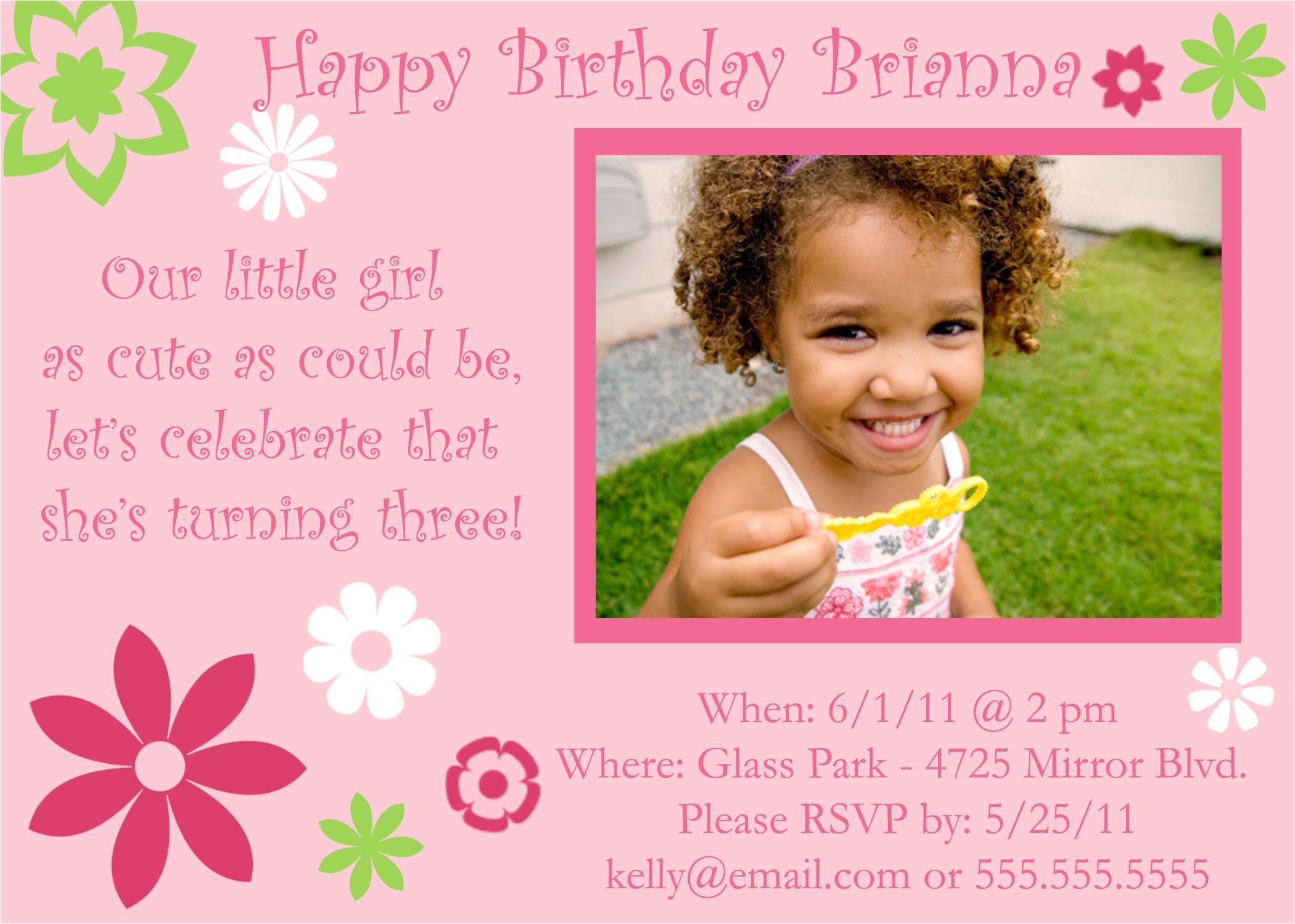 3rd birthday invitation wording