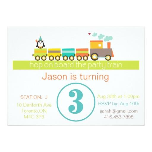 3rd birthday boy train invitation