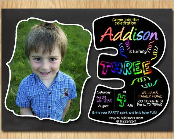 3rd birthday invitation chalkboard invite rainbow 2