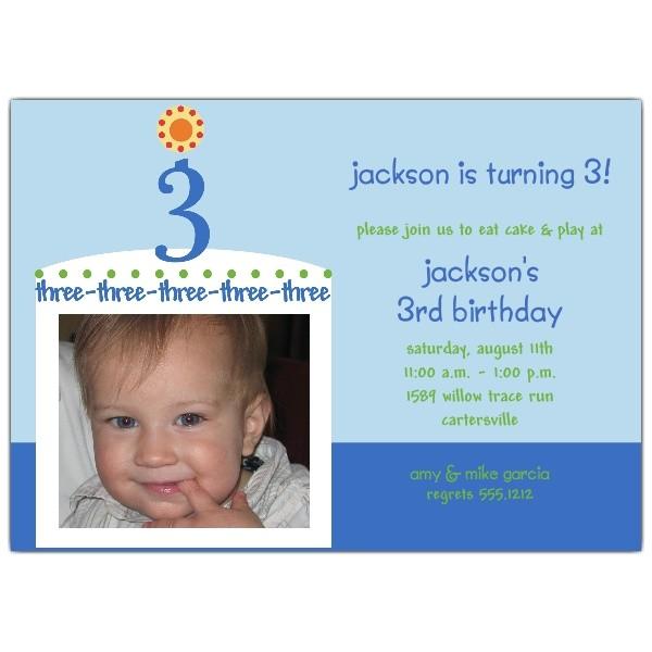 Birthday Cake Boy Third Birthday Invitations p 604 57 CB003