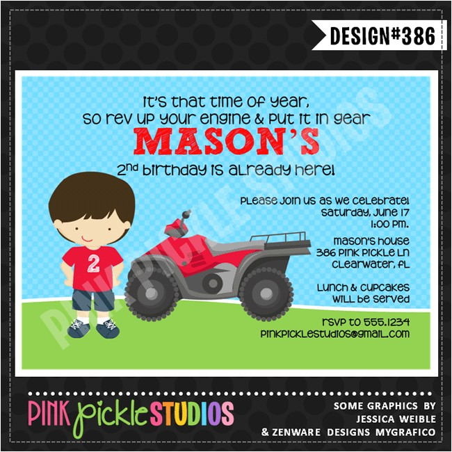 4 Wheeler Personalized Party Invitation