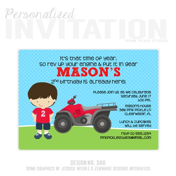 4 wheeler invitation 4 wheeler birthday