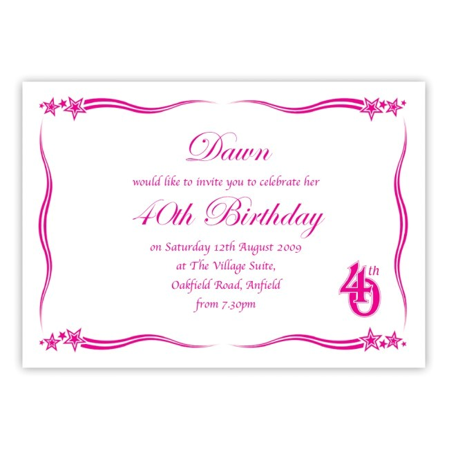 dbmf174 40th birthday party invitation
