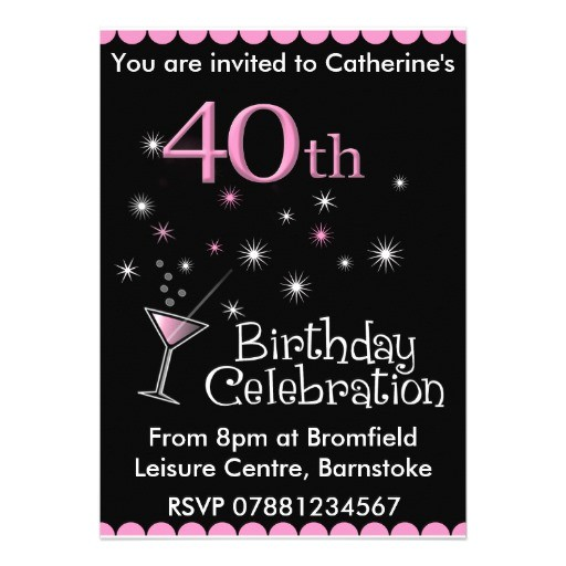 40th Birthday Cocktail Party Invitations 40th Birthday Party Invitation Cocktail Glass 5 Quot X 7