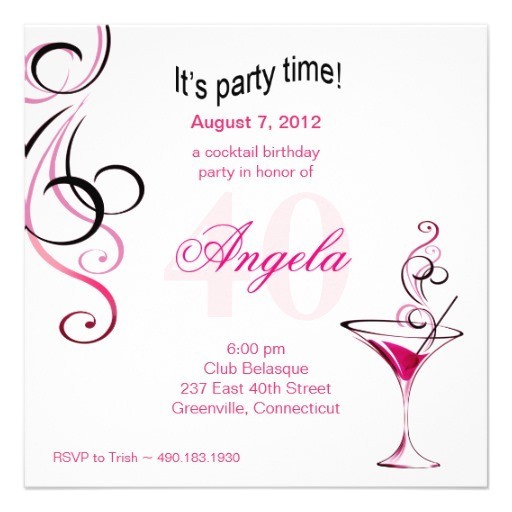 modern cocktail 40th birthday party fuschia invitation 161042684618824068