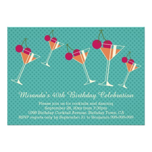 modern martini cocktail 40th birthday party invitation 161686399410681071
