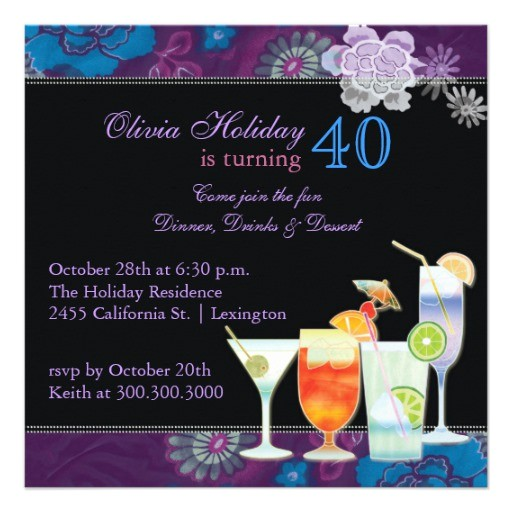 tropical cocktails 40th birthday party invitations 161356001400341237