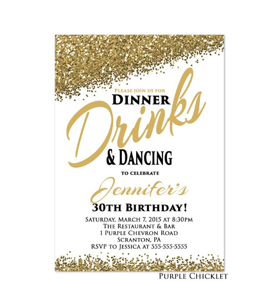 30th any age birthday invitation dinner