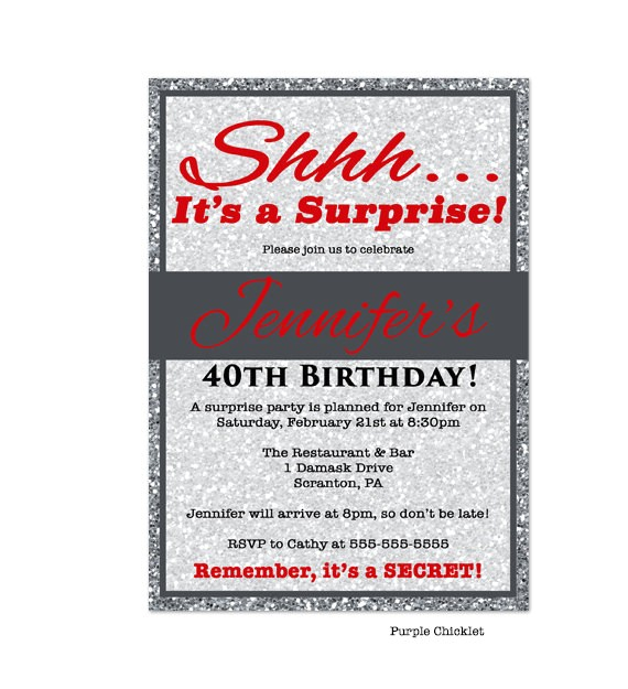 red 30th 40th 50th birthday invitation