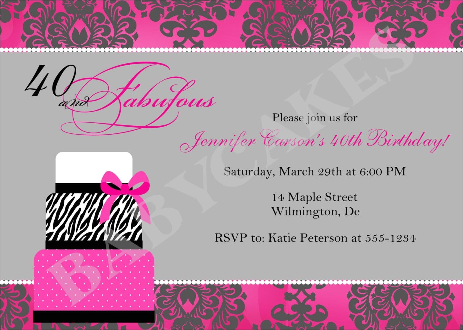 40th party invitation template free