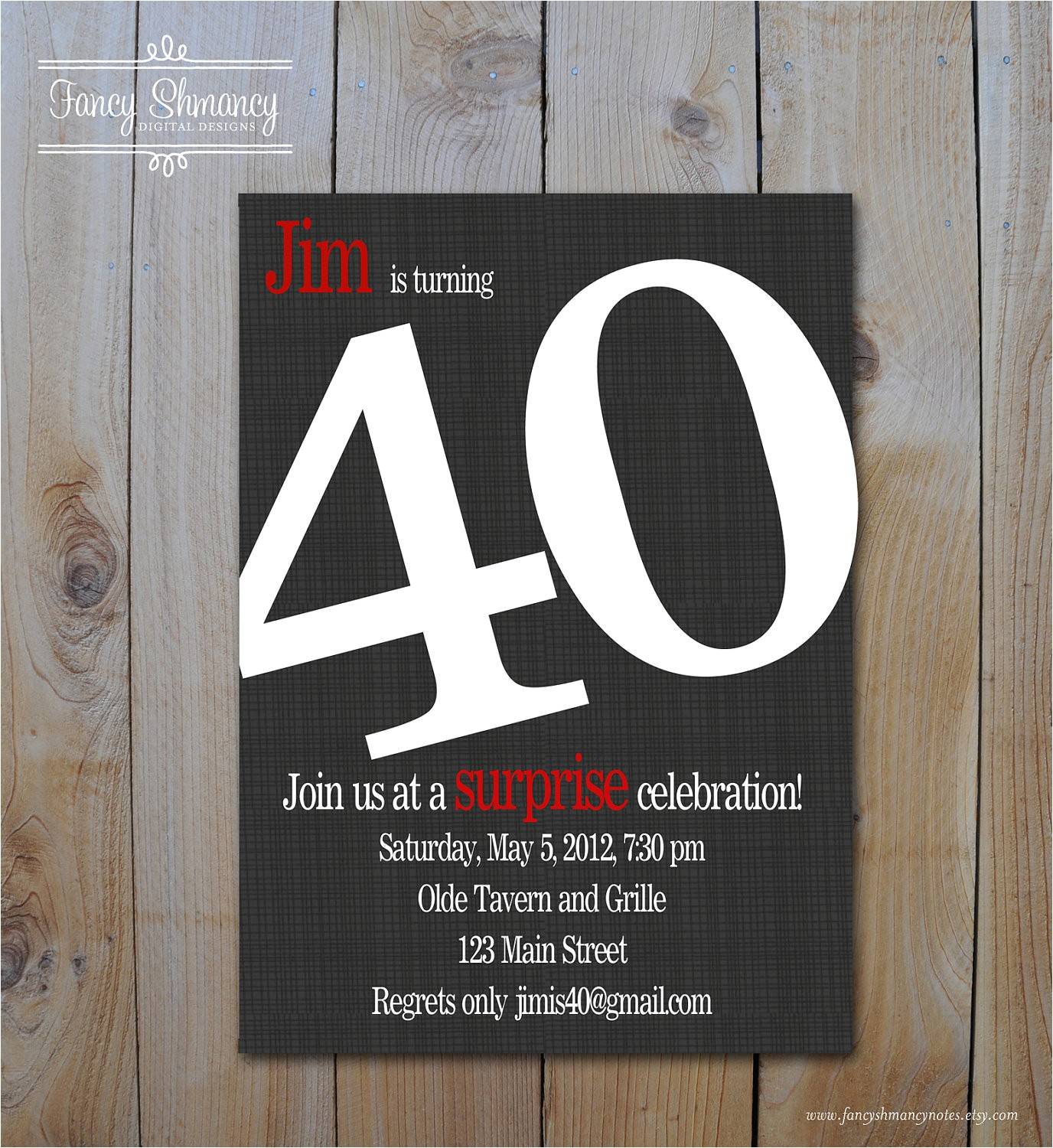 post men 40th birthday invitations printable