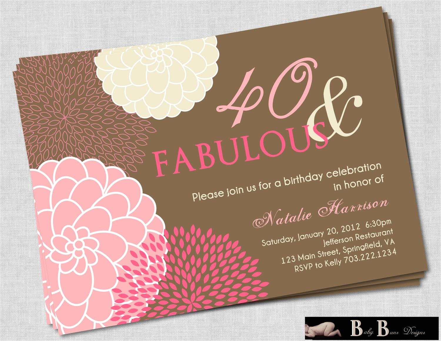 40th birthday invitations for women