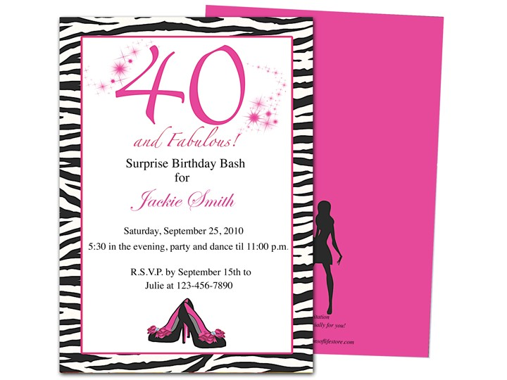 invitation templates 40th birthday party