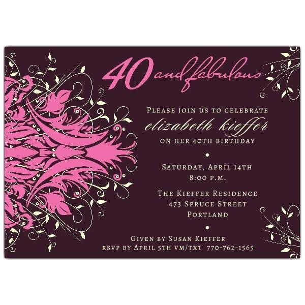 Andromeda Fabulous Pink 40th Birthday Invitations p 610 75 159P