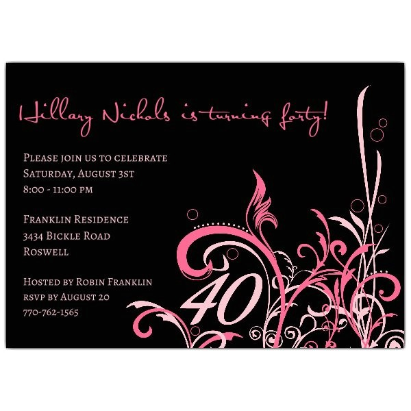 cabiri pink 40th birthday invitations p 610 75 229k