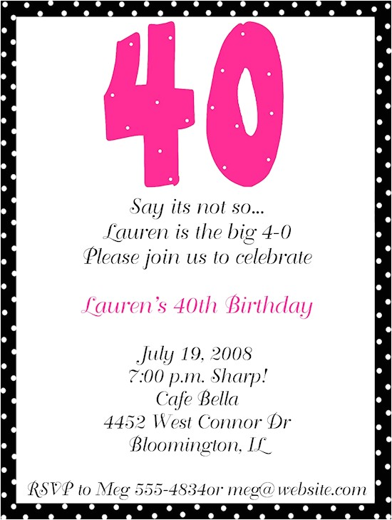 40th Birthday Invite Wording for Her 40th Birthday Party Invitations