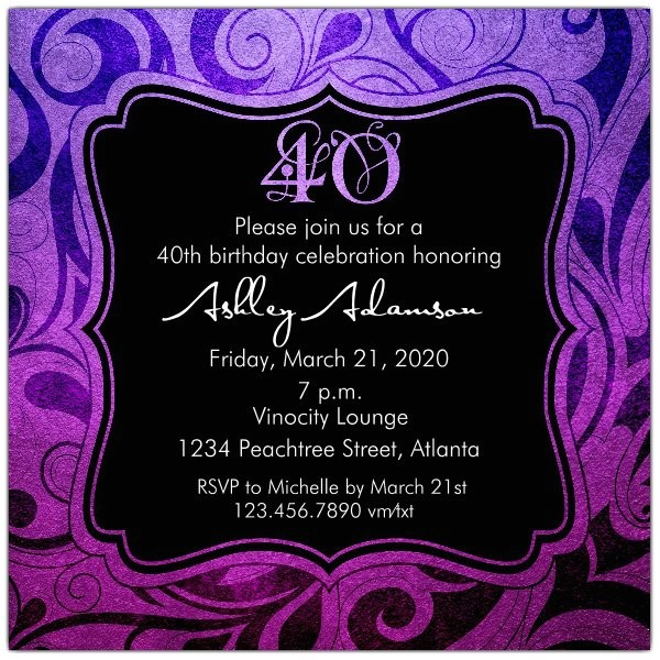 brilliant emblem 40th birthday party invitations p 615 55 242