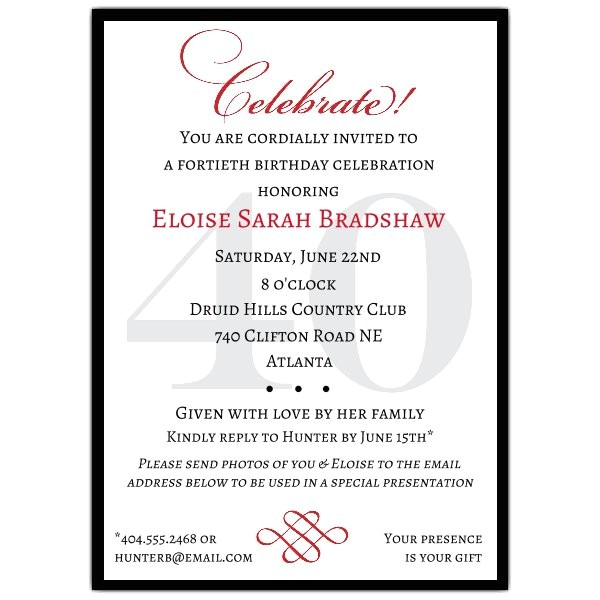 classic 40th birthday celebrate milestone invitations p 607 57 40c