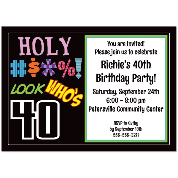 40th birthday party invitations templates