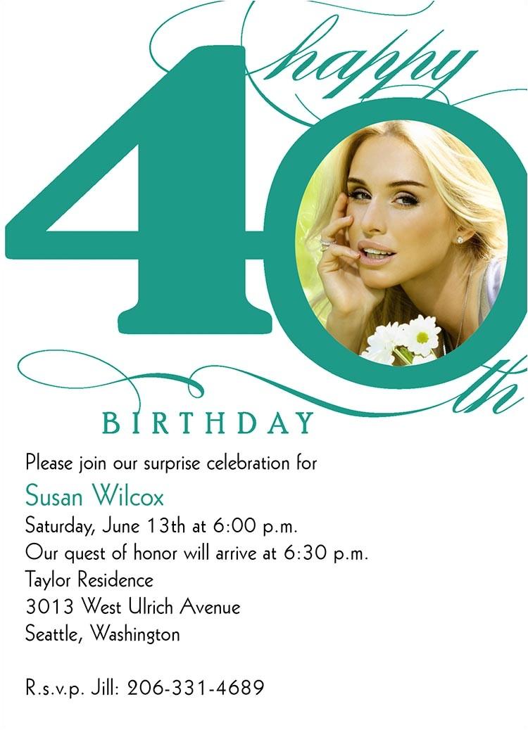 40th birthday invitation wording