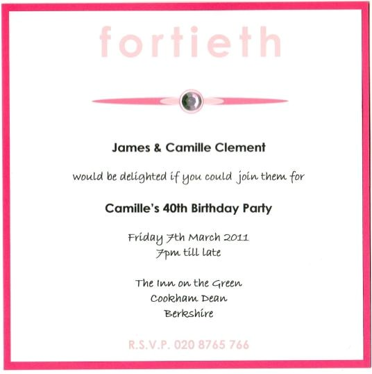 top 13 40th birthday party invitation wording