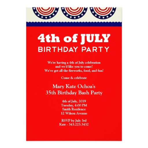 4th of july birthday party invitation 161799915603767442