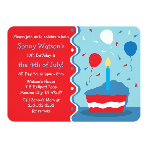 4th of july birthday party invitations 161794200363585780