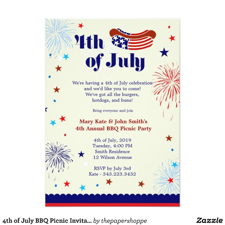 4th of july bbq picnic invitation party 161489606824815166