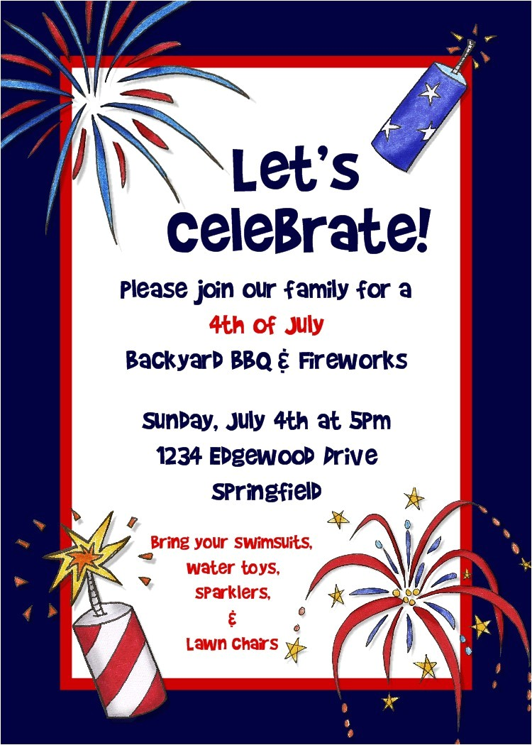 4th Of July Party Invite Bear River Photo Greetings 4th Of July Party Invitation