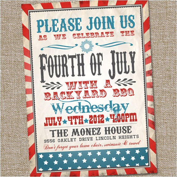 retro vintage fourth of july invitation