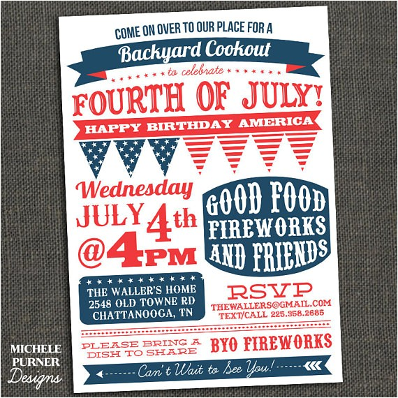 fourth of july party invitation bbq clam