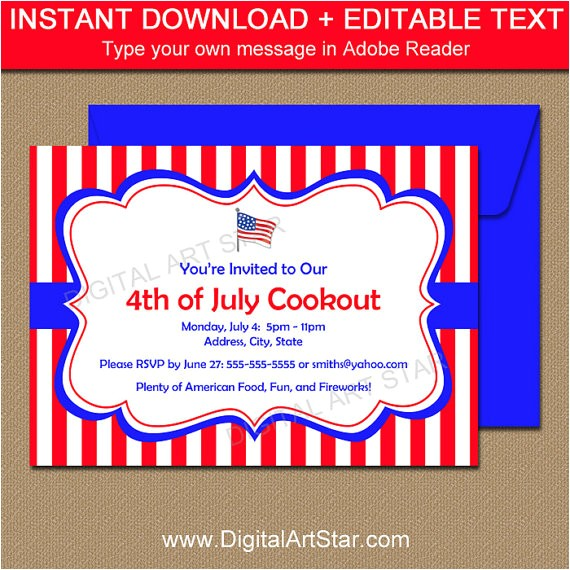 4th Of July Party Invite Template Printable 4th Of July Invitation Template July 4th
