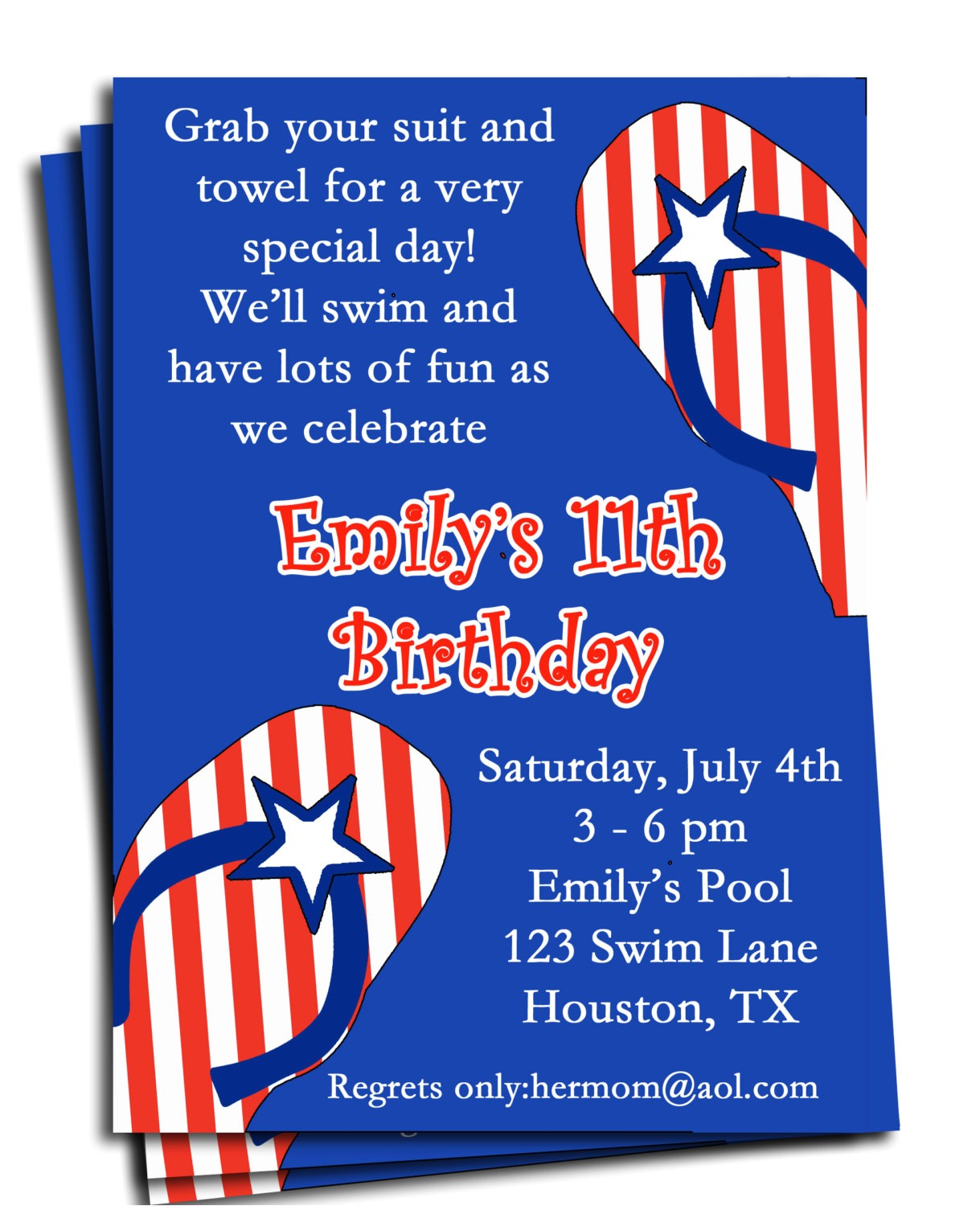 fourth of july pool party invitation