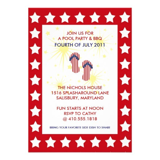 4th of july pool party bbq invitations