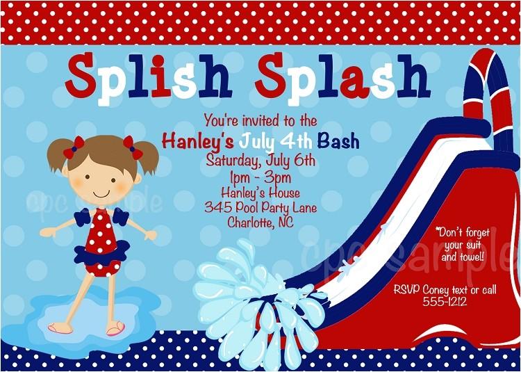 July 4th Pool Party Birthday Invitation p 3544