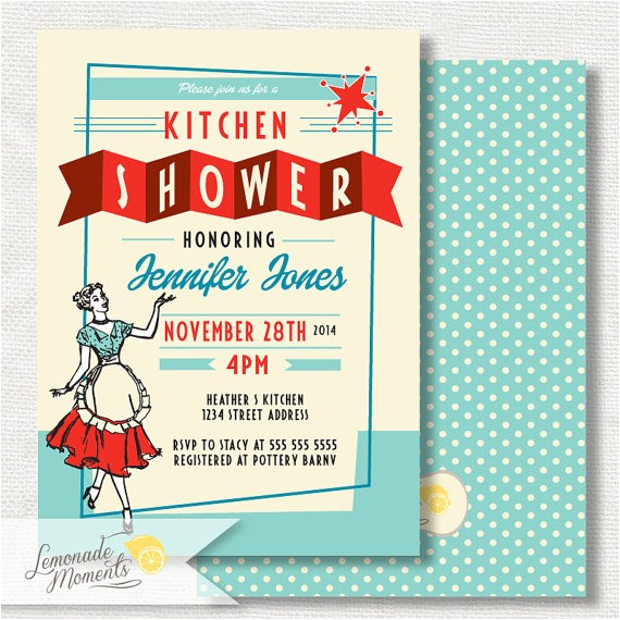 50 S Bridal Shower Invitations 50s Bridal Shower Invitation Retro Kitchen Bridal Shower
