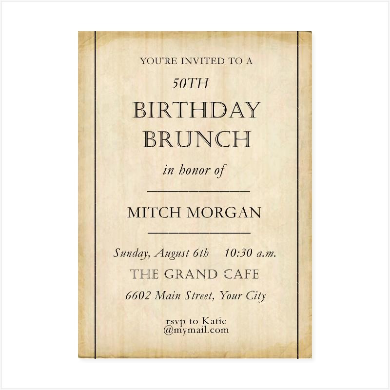 50 th birthday brunch invitation