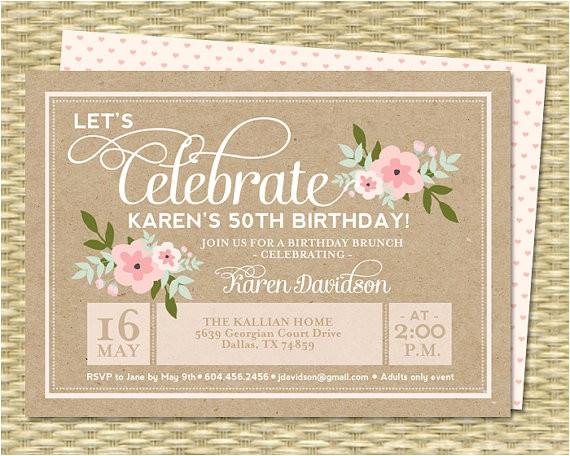 50th birthday invitation adult milestone