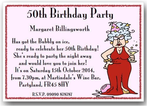 funny 50th birthday party invitation wording