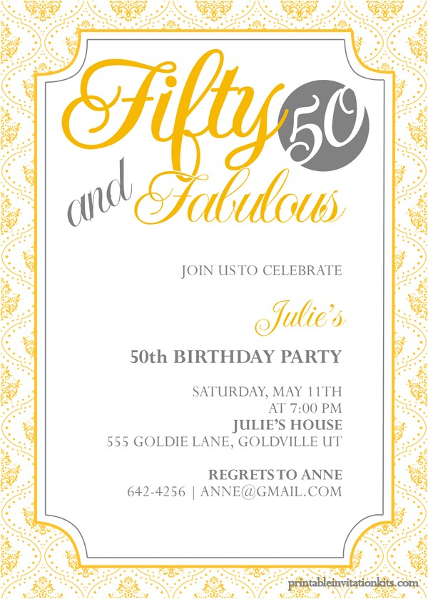 fifty and fabulous 50th birthday invitation